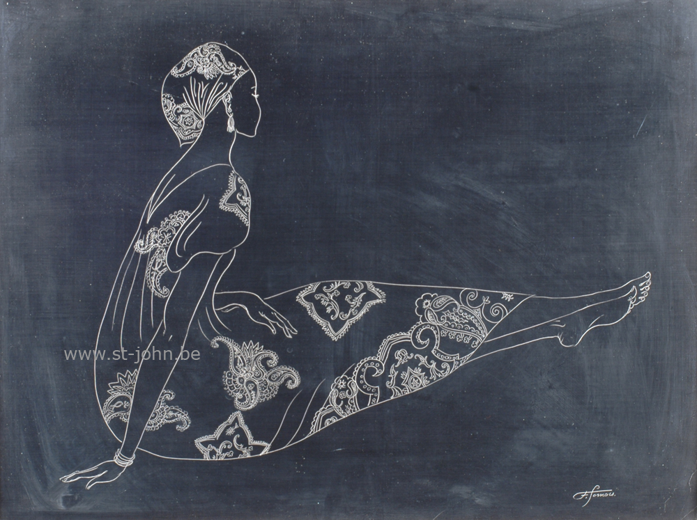 Francine Somers — <p> <strong>Francine Somers</strong> (1923), Sitting Woman (Africa), an unique scratchboard drawing, 47 x 63 cm (day measure), signed bottom right.</p>