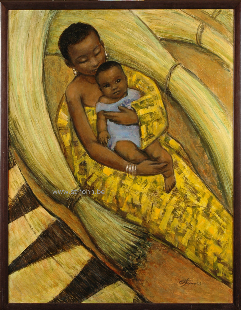 Francine Somers — <p> &nbsp;<strong>Francine Somers</strong> (1923), Girl and child (Africa), oil on board, 80,5 x 62 cm, signed bottom right.</p>