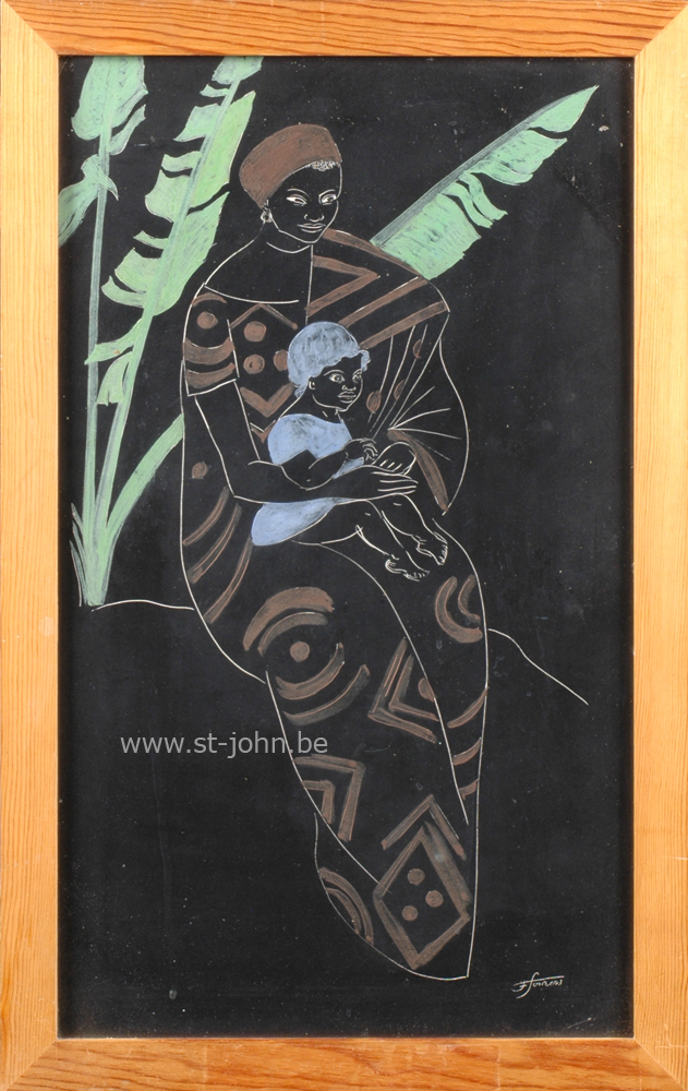 Francine Somers — <p> <strong>Francine Somers</strong> (1923), Woman and child sitting in front of a tree (Africa), an unique coloured scratchboard drawing, 48 x 29 cm (day measure), signed bottom right.</p>