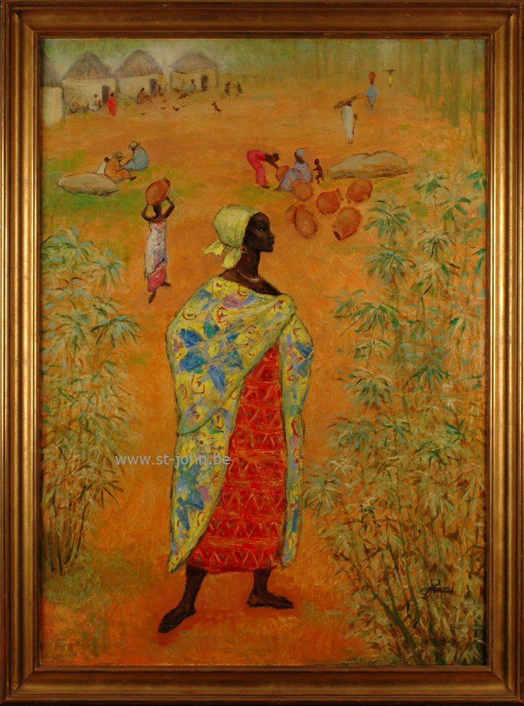 Francine Somers — <p> <strong>Francine Somers </strong>(1923): Standing African woman, oil on canvas, 106,5 x 76 cm, signed bottom right.</p>
