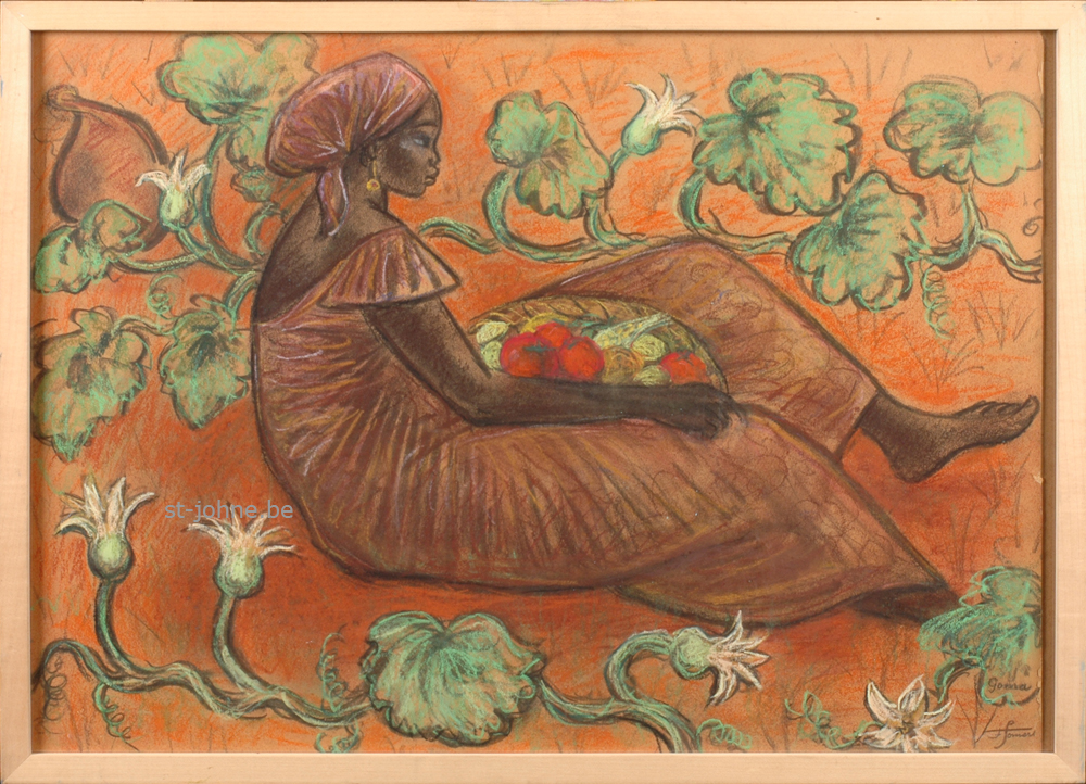 Francine Somers — <p> <strong>Francine Somers</strong> (1923), Woman with a basket of fruit (la fecondite), mixed media on paper, 48 x 67 cm (day measure), signed bottom right.</p>