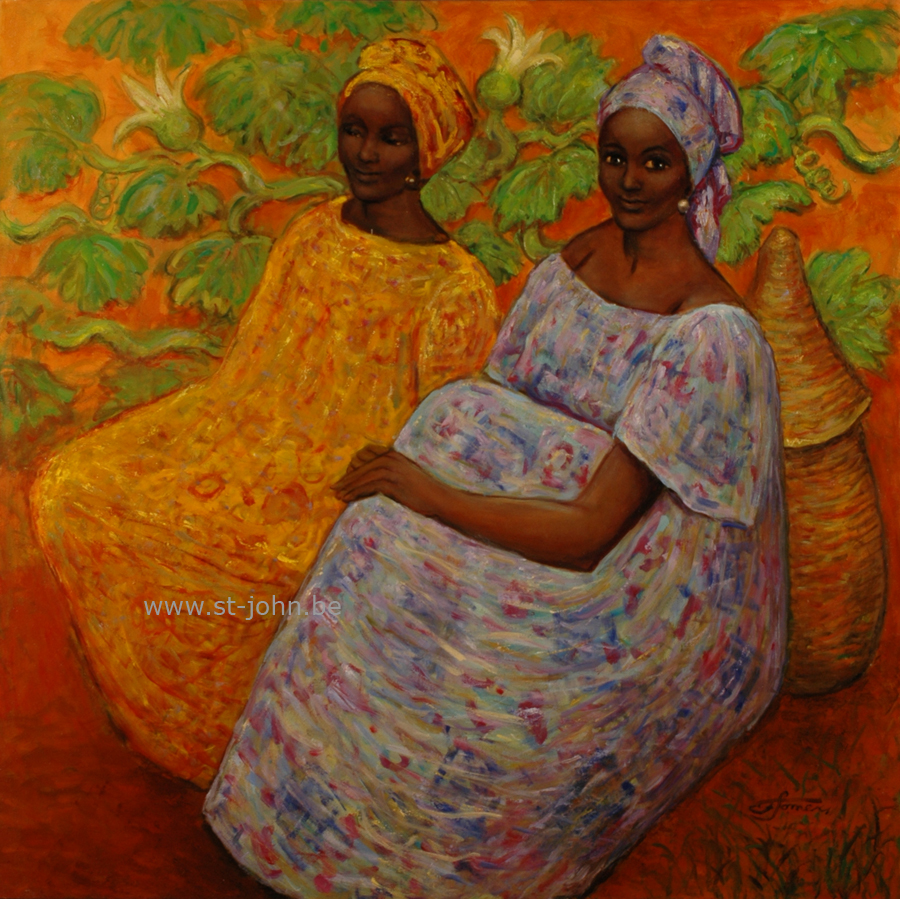 Francine Somers — <p> <strong>Francine Somers </strong>(1923), the conversation (Africa) oil on canvas, 100 x 100 cm, signed bottom right.</p>