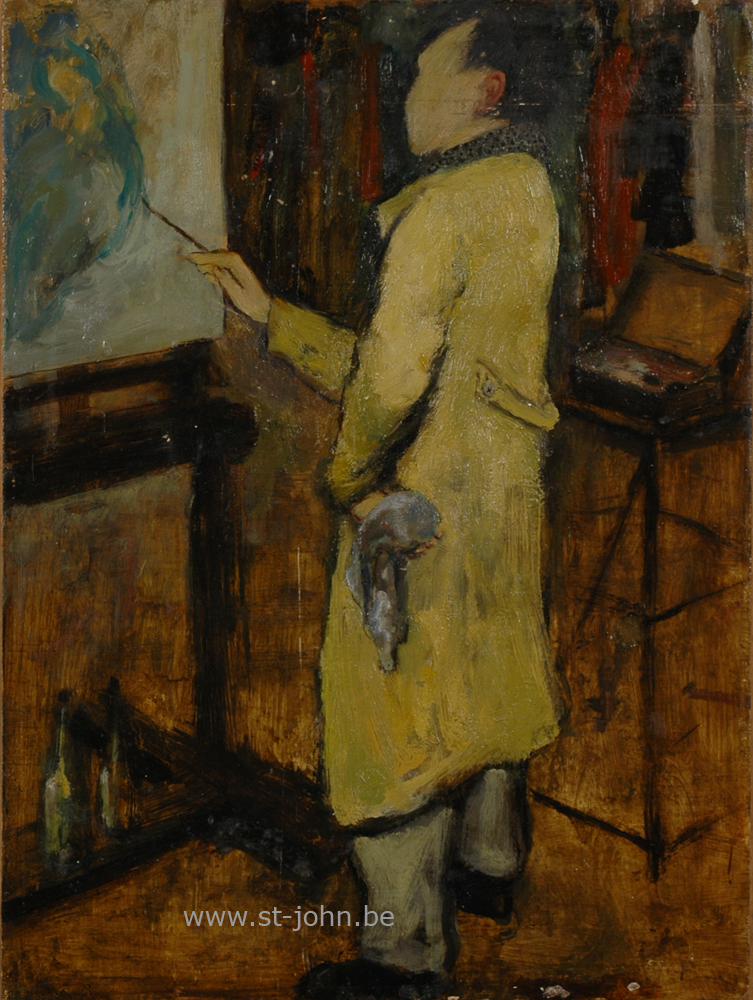 Francine Somers — <p> <strong>Francine Somers</strong> (1923), an early portrait of the painter Camille D&#39;Have working in the Academy, oil on board, 40 x 30 cm, signed bottom right.</p>