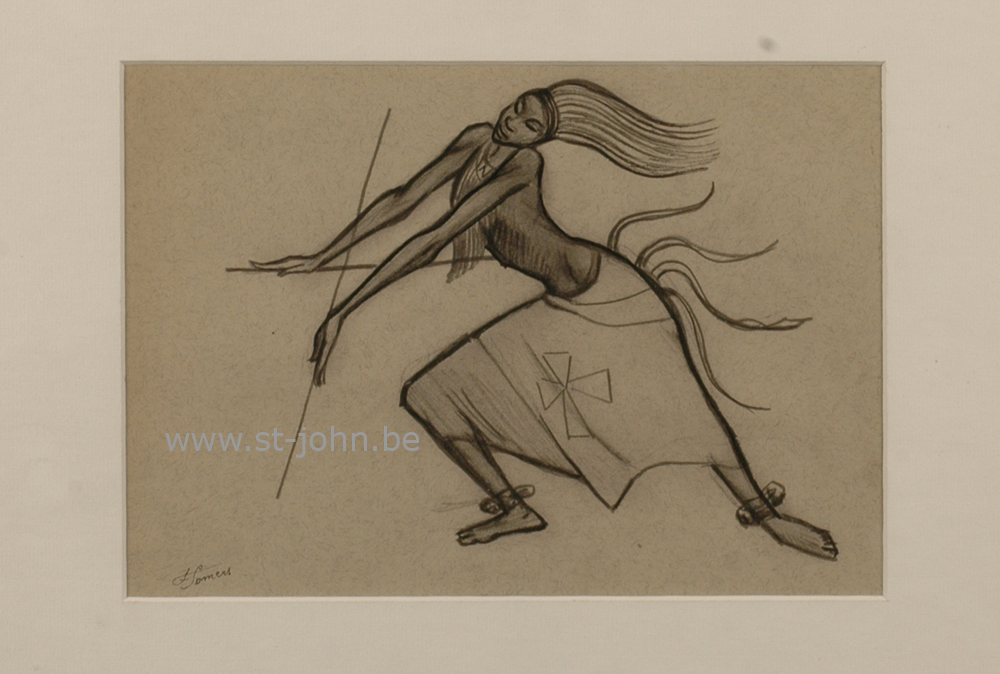 Francine Somers — <p> <strong>Francine Somers</strong> (1923), a drawing of an African dancer (study for a medaillon), pencil on paper, 19 x 27 cm (day measure), signed bottom left.</p>
