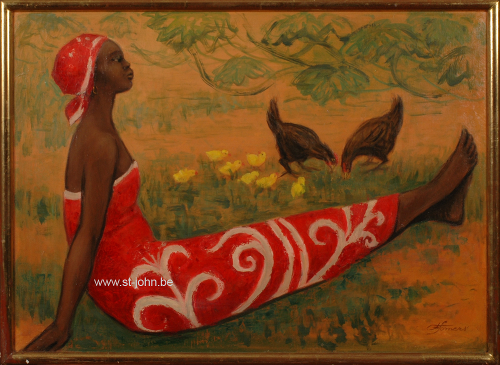Francine Somers — <p> <strong>Francine Somers </strong>(1923): An African woman in red dress, oil on canvas, 50 x 70 cm, signed bottom right.</p>