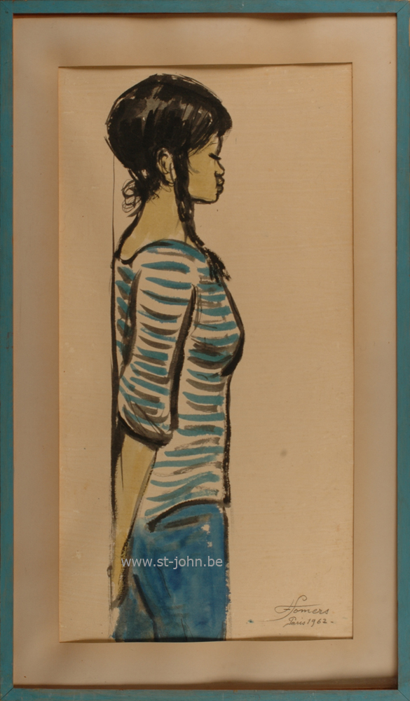 Francine Somers — <p> <strong>Francine Somers </strong>(1923): Jeune femme orientale, Paris, 1962, mixed media on japanese paper, 84,5 x 44,5 cm, signed and dated bottom right.</p>