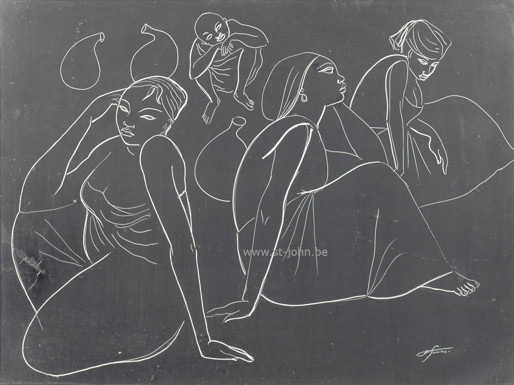 Francine Somers — <p> <strong>Francine Somers</strong> (1923), Women and child sitting (Africa), an unique scratchboard drawing, 47 x 63 cm (day measure), signed bottom right.</p>