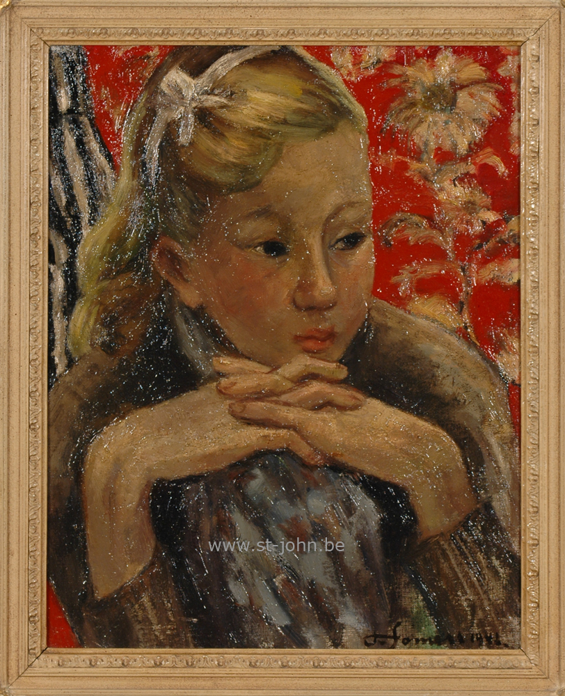 Francine Somers — <p> Francine Somers (1923), a very early portrait of a girl (1942), oil on board, 50,5 x 39,5 cm, signed bottom right.</p>