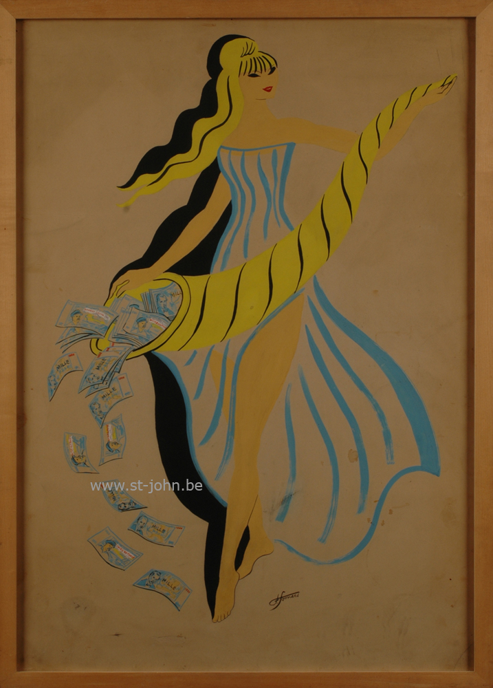 Francine Somers — <p> <strong>Francine Somers</strong> (1923), a rare presentation drawing for a poster for the &#39;Loterie Coloniale&#39; &nbsp;(pre 1962), mixed media on paper, 68,5 x 48,5 cm (day measure), signed bottom middle.</p>
