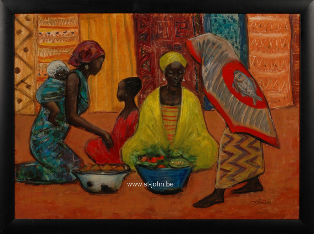 Francine Somers — <p> <strong>Francine Somers</strong> (1923): Women and children at an African market, oil on board, 50 x 70 cm, signed bottom right.</p>