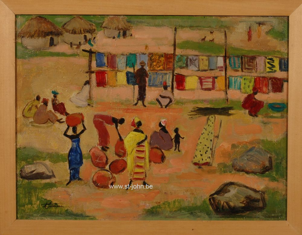 Francine Somers — <p> <strong>Francine Somers</strong> (1923): Market day at &quot;Kuliabisch&#233;&quot; (sic), Africa, oil on canvas, 36,5 x 47,5 cm, signed bottom left and with text on the strecher.</p>