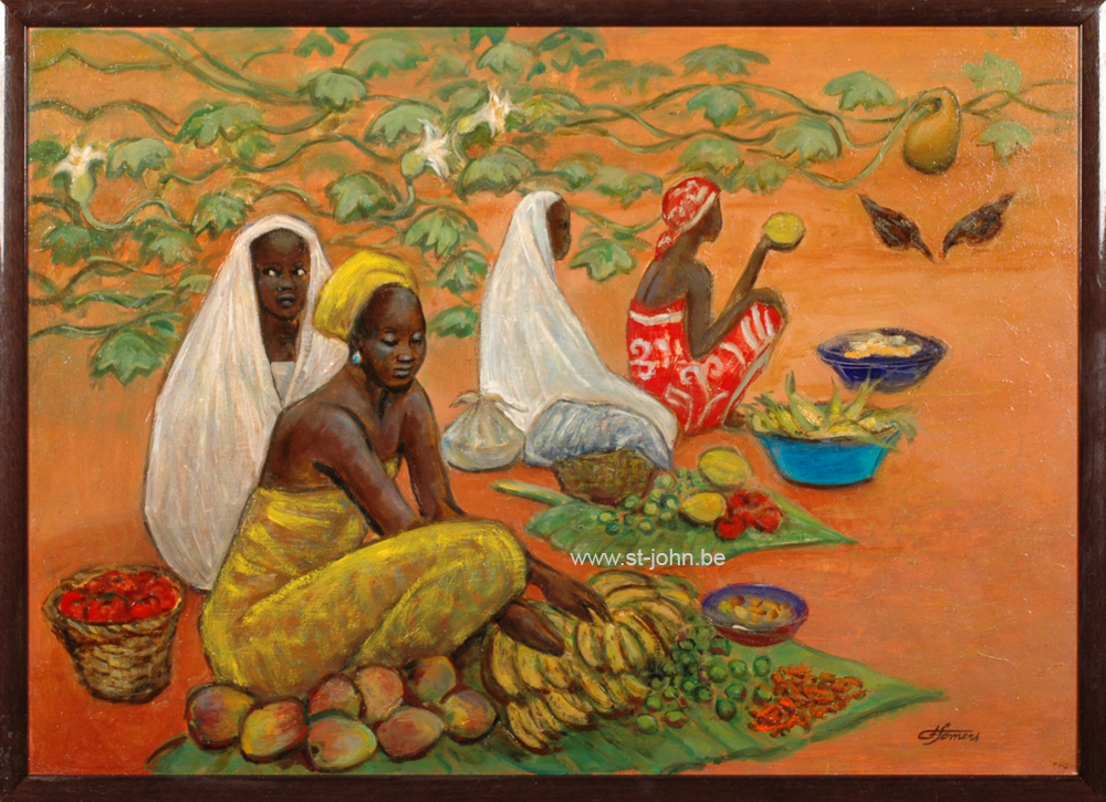 Francine Somers — <p> <strong>Francine Somers</strong> (1923): fruit market in Africa, oil on board, 56,5 x 80 cm, signed bottom right.</p>