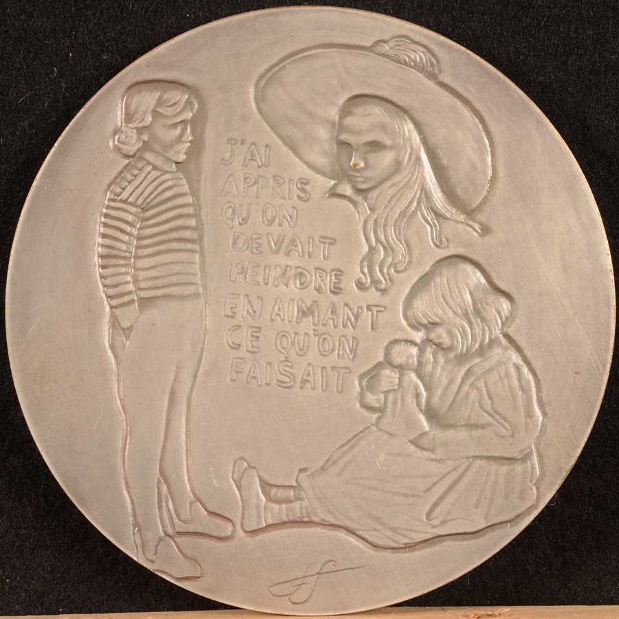 Francine Somers — Back of the medallion with motifs of famous paintings by the artist