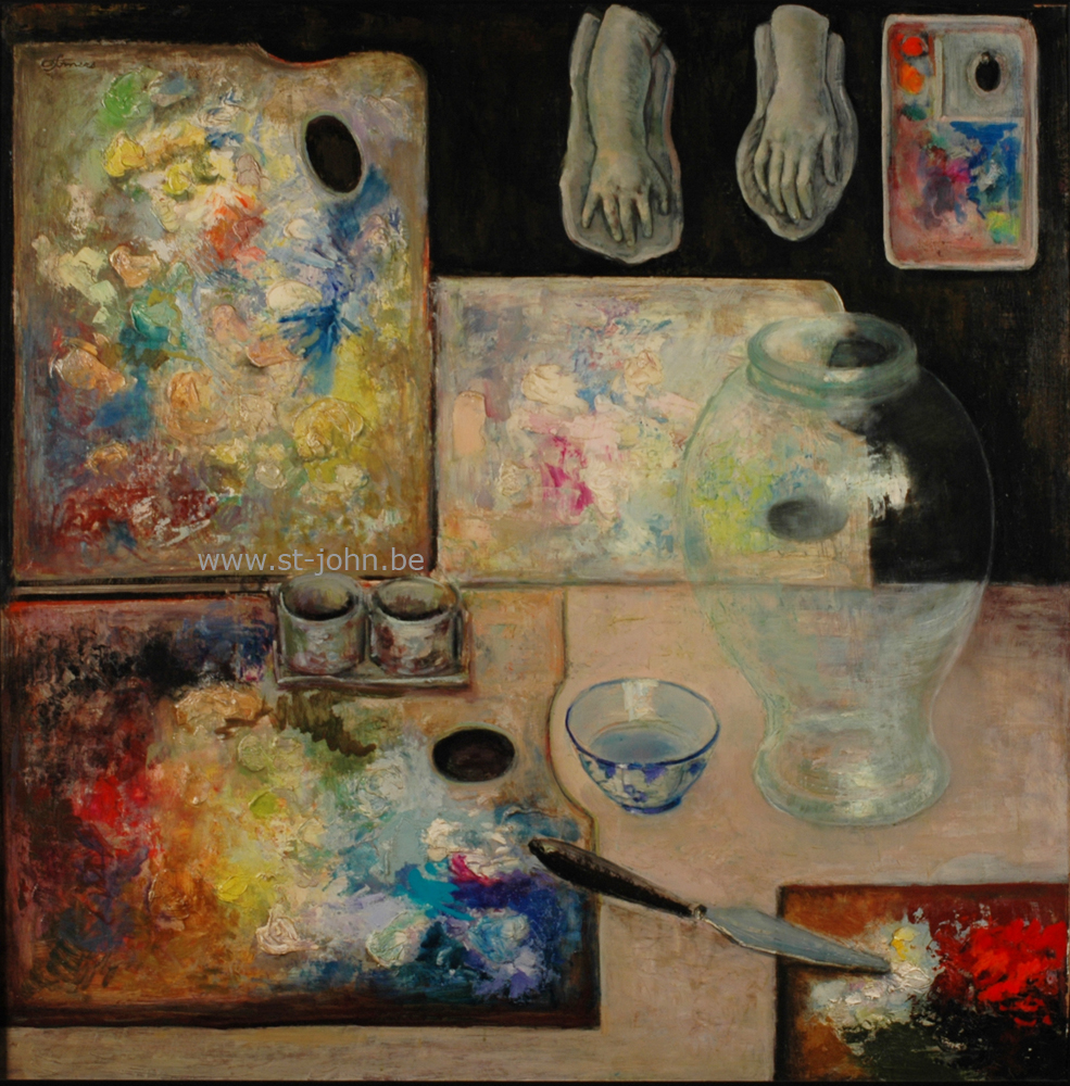 Francine Somers — <p> <strong>Francine Somers </strong>(1923), large stillife with the painters&#39; palettes, oil on board, 107 x 107 cm, signed bottom left.</p>