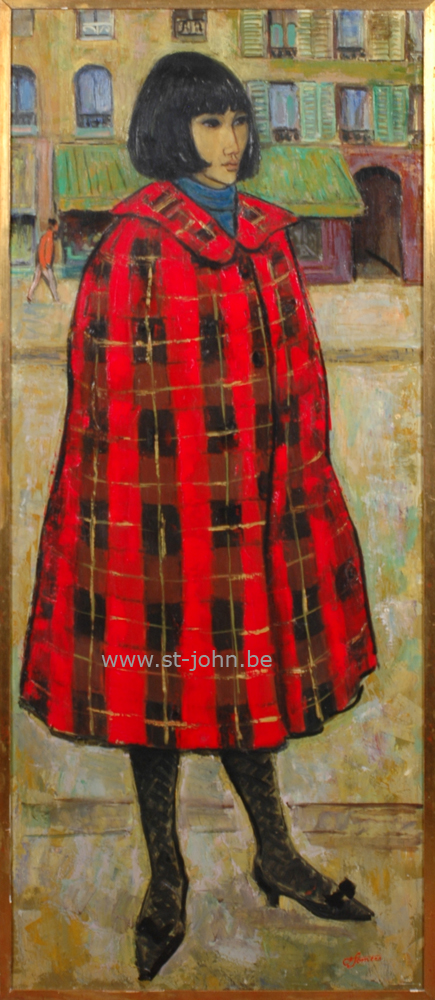 Francine Somers — <p><strong>Francine Somers</strong> (1923), Frederica au poncho rouge, oil on canvas, 141 x 60,5 cm, signed bottom right.</p>