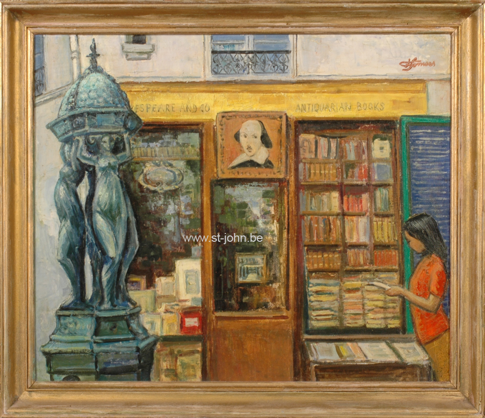 Francine Somers — <p> <strong>Francine Somers</strong> (1923), Shakespeare and Co, Paris, oil on canvas laid down on panel, 50 x 60 cm, signed top right.</p>