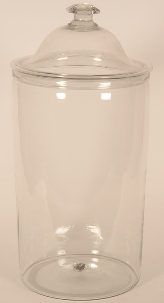 Giant glass lidded jar — Probably early 19th century, with pontil mark in the middle of the concave bottom<br><br>