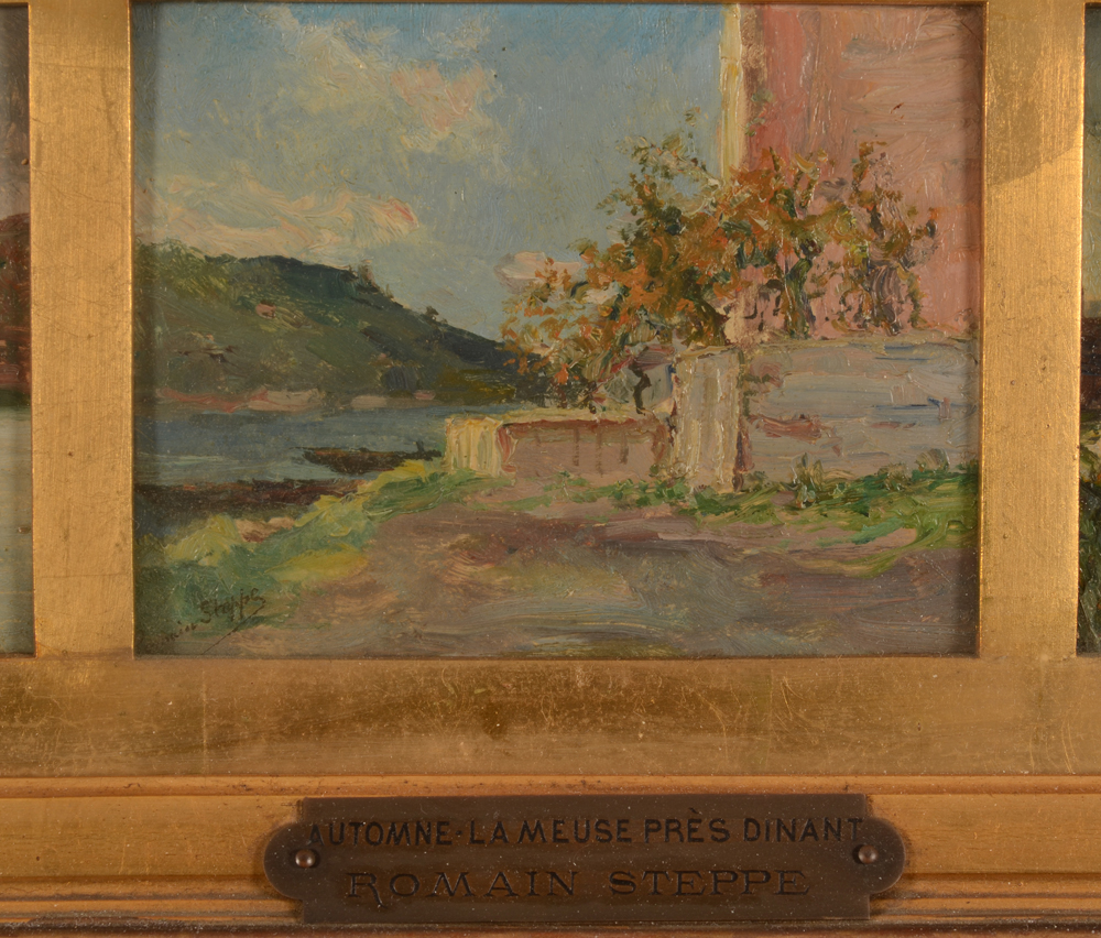 Romain Steppe — Detail of the front of the paintng with the original title plaque