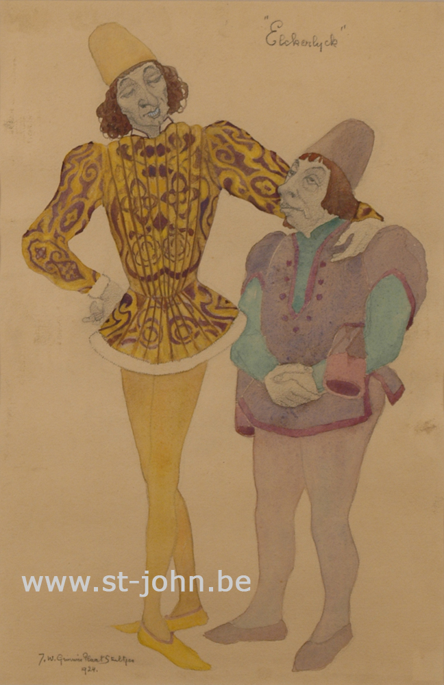 Jan Stultjes — <p> Costume design for the play Elckerlyc: Two figures, pencil, watercolour and bodycolour on paper, signed and dated bottom left &nbsp;&quot;J.W. Grinwis Plaat Stultjes&quot;, 34,5 x 22,5 cm.</p>