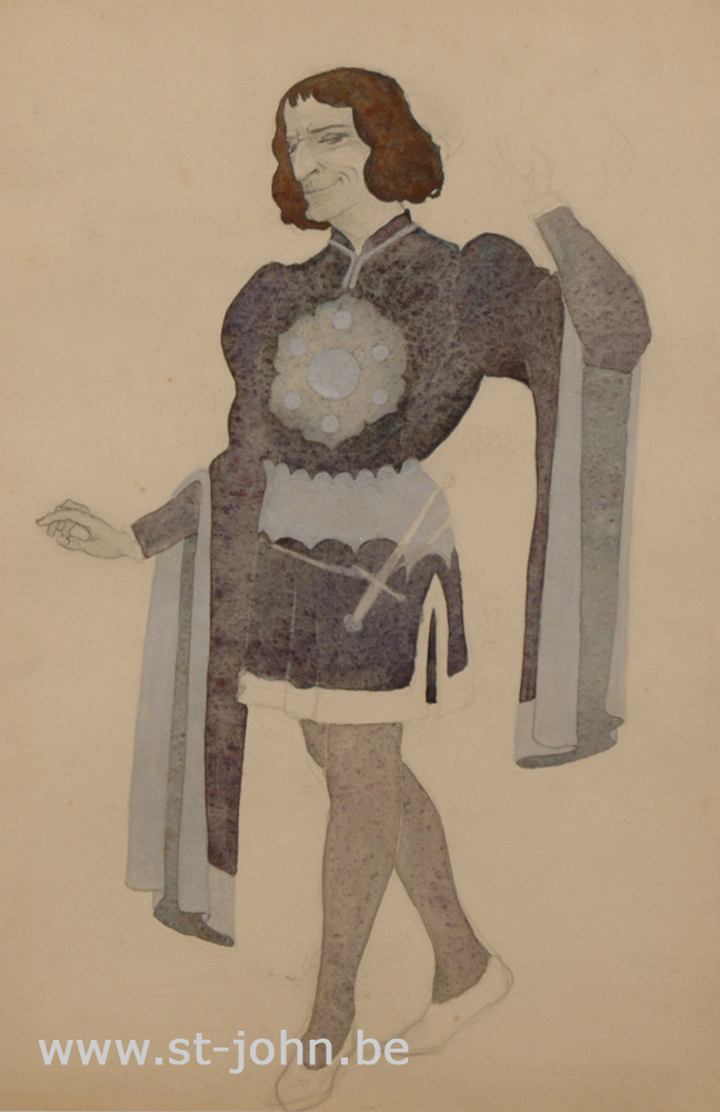 Jan Stultjes — <p> Costume design for the play Elckerlyc: Nobleman in blue,&nbsp;pencil, watercolour and bodycolour on paper, 34,5 x 22,5 cm (day measures).</p>