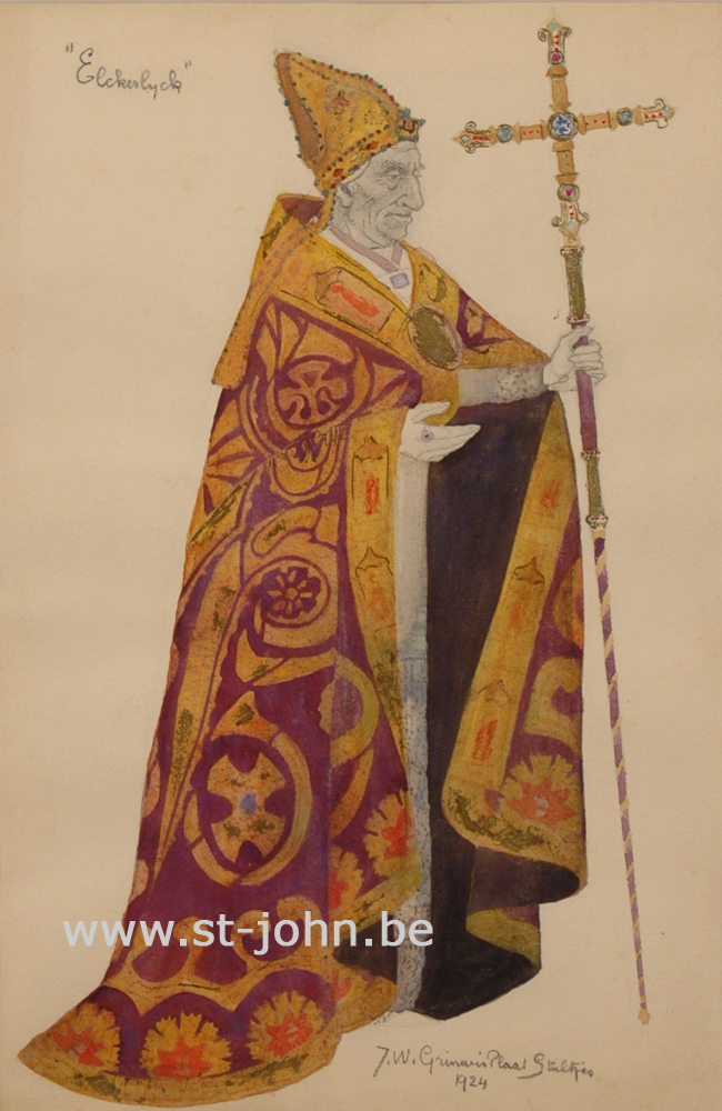 Jan Stultjes — <p> Costume design for the play Elckerlyc: a bishop, pencil, watercolur and bodycolour on paper, signed and dated bottom right &quot;J.W. Grinwis Plaat Stultjes1924&quot;, 34,5 x 22,5 cm.</p>