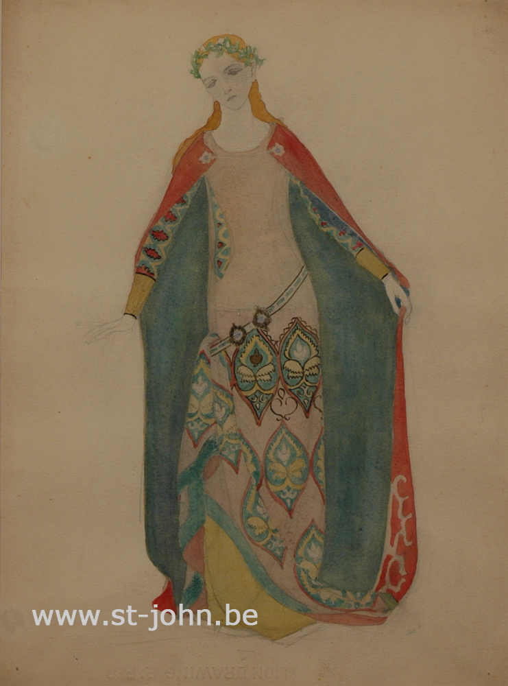 Jan Stultjes — <p> Costume design for the play Elckerlyc: &quot;Beauty&quot;, pencil and watercolour on paper, 34,5 x 26 cm.</p>