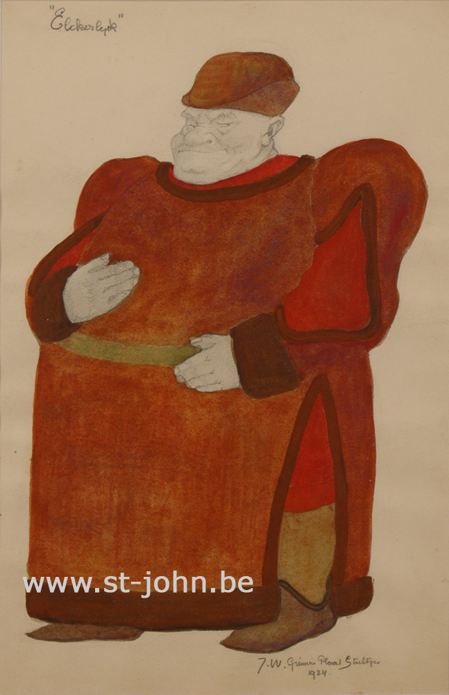 Jan Stultjes — <p> Costume design for the play Elckerlyc: &quot;The Force&quot;, pencil and watercolour on paper, signed and dated bottom right &quot;J.W. Grinwis Plaat Stultjes 1924&quot;, 34 x 22,5 cm.</p>