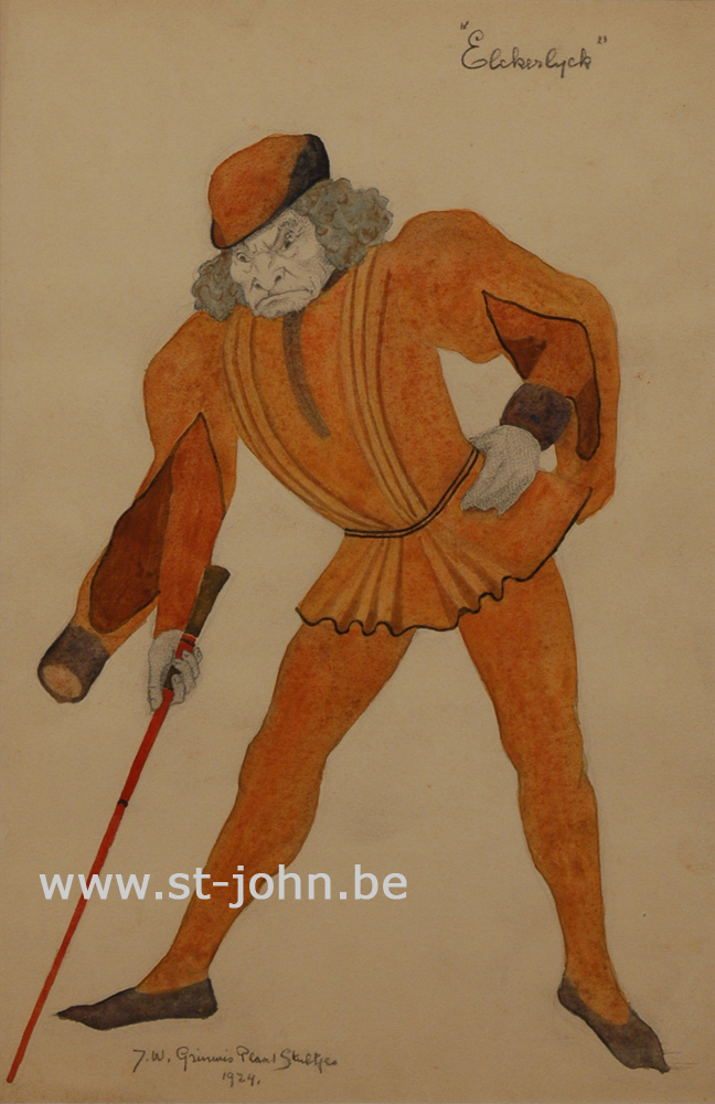 Jan Stultjes — <p> Costume design for the play Elckerlyc: A figure with a cane, pencil and watercolour on paper, signed and dated bottom left &quot;J.W. Grinwis Plaat Stultjes 1924&quot;, 34 x 22,5 cm.</p>