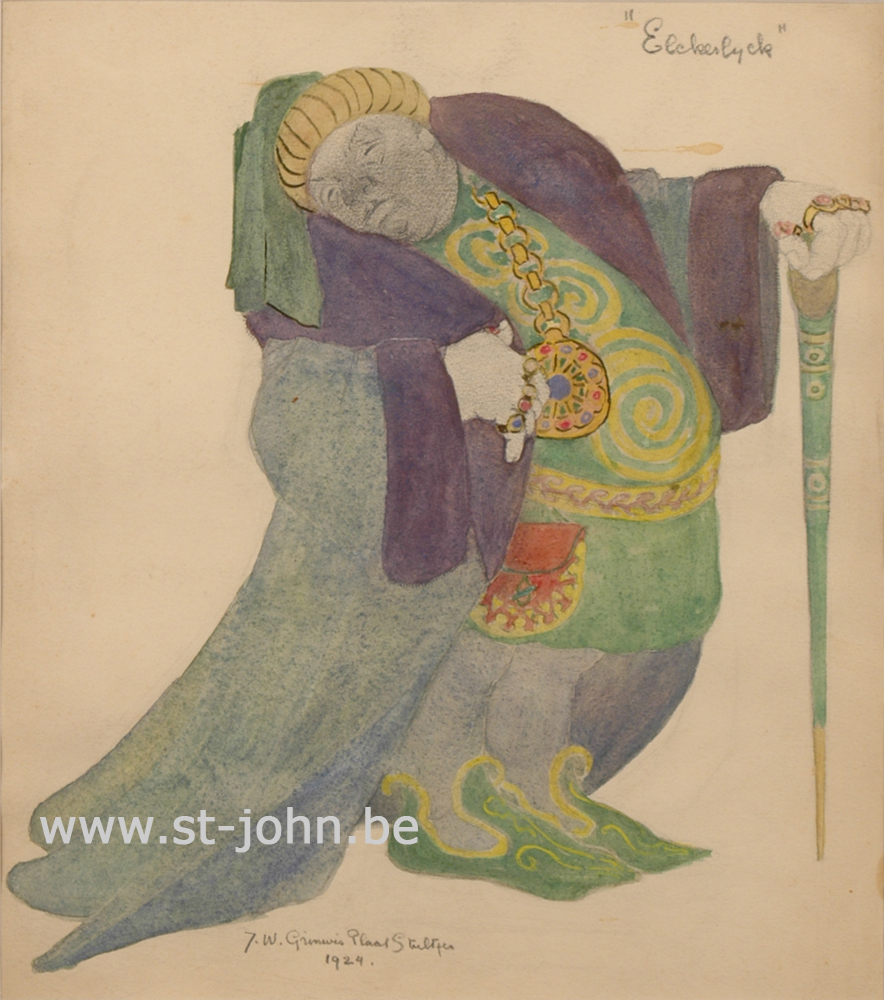 Jan Stultjes — <p> Costume design for the play Elckerlyc: a rich man, pencil and watercolour on paper, signed en dated bottom &quot;J.W. Grinwis Plaat Stultjes 1924&quot;, 30,5 x 27 cm.</p>