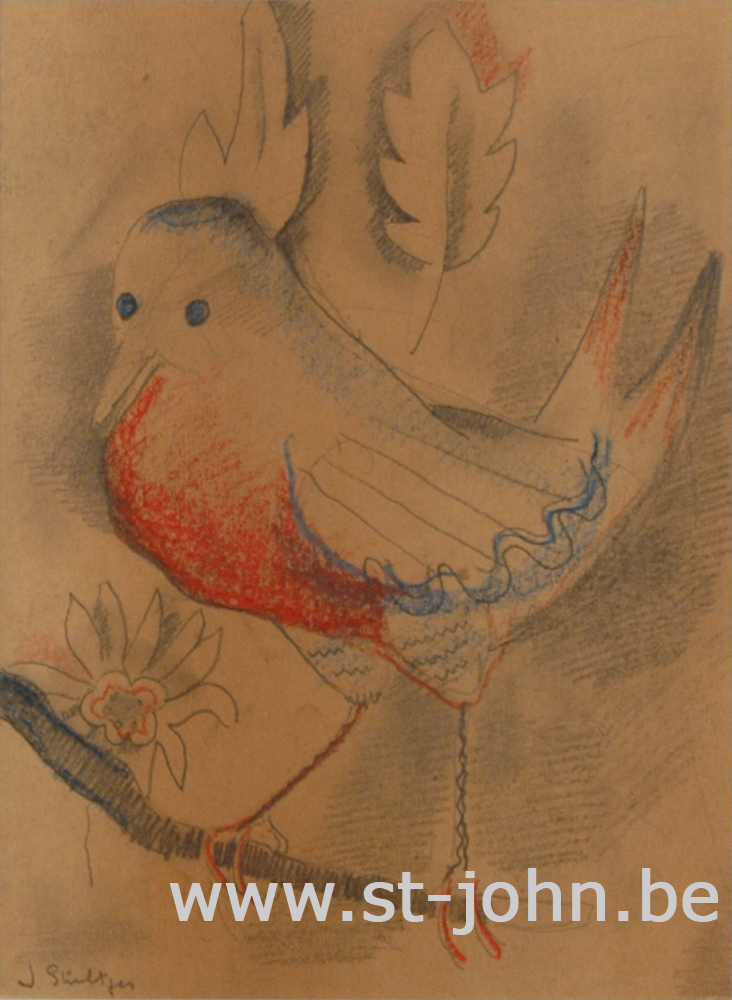 Jan Stultjes — <p> The wonderful bird, pencil and coloured crayon on paper, signed &quot;J Stultjes&quot; bottom left, 21 x 15,5 cm (day measures). On the back: pencil study of a woman reading.</p>