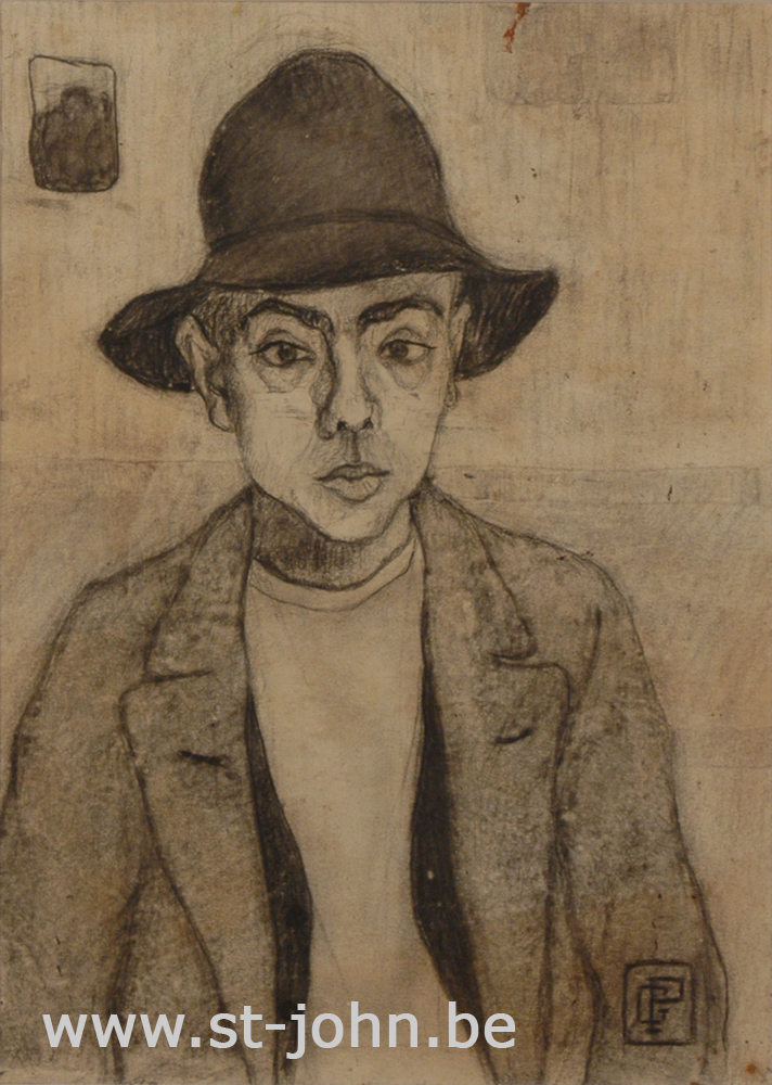 Jan Stultjes — <p> Boy with large hat, charcoal on paper, signed with monogram &quot;GP&quot; bottom right, 26,5 x 19 cm.</p>