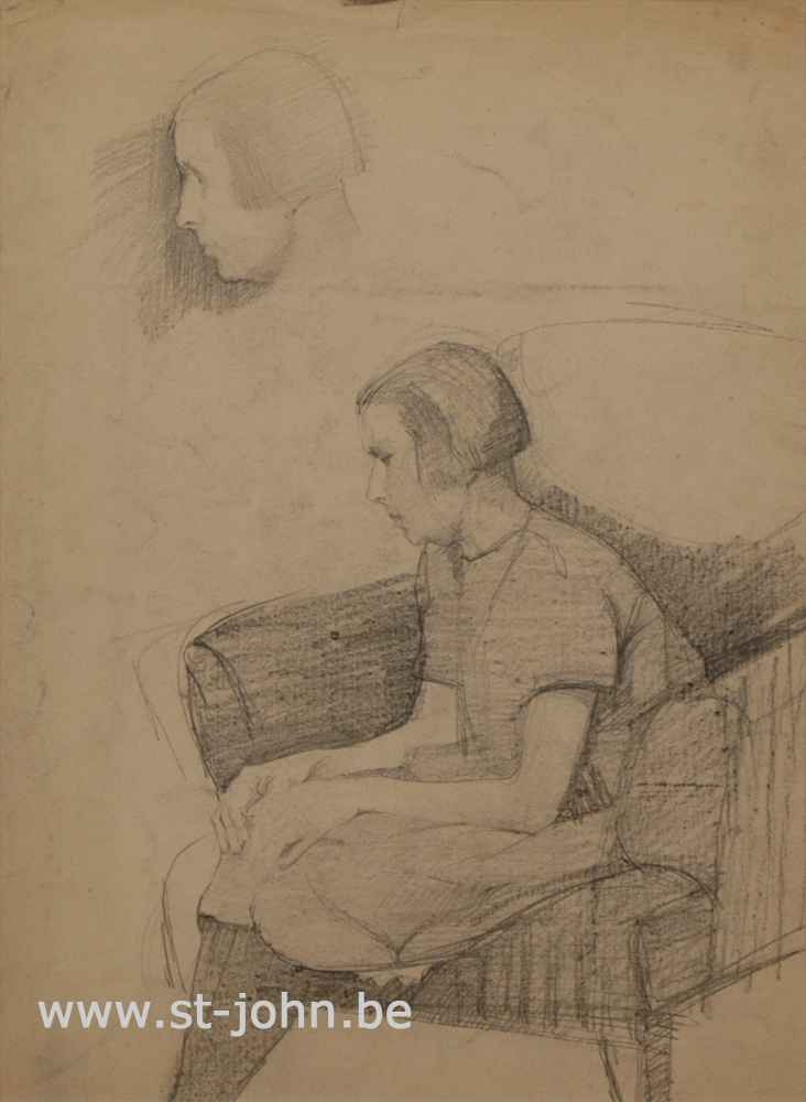 Jan Stultjes — <p> Study of a girl sitting in a chair, and a profile study, pencil on paper, 34 x 25 cm.</p>