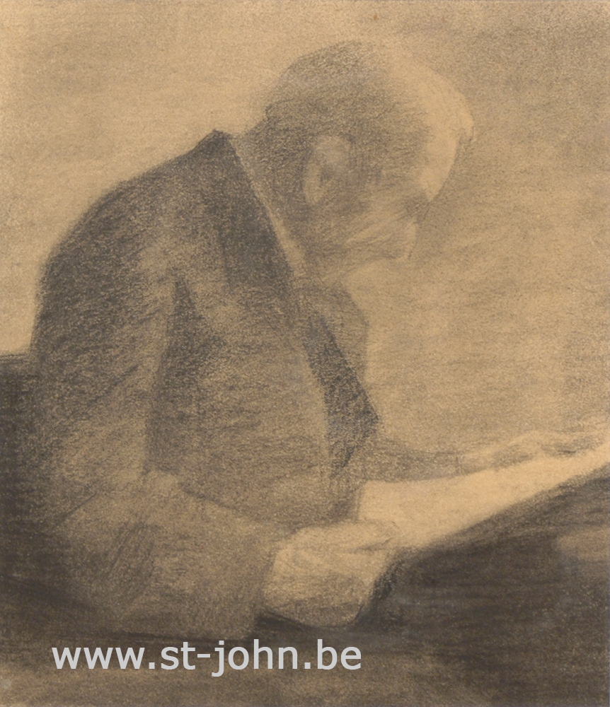 Jan Stultjes — <p> Man reading the paper, charcoal drawing on paper, 26,5 x 23 cm (day measures).</p>