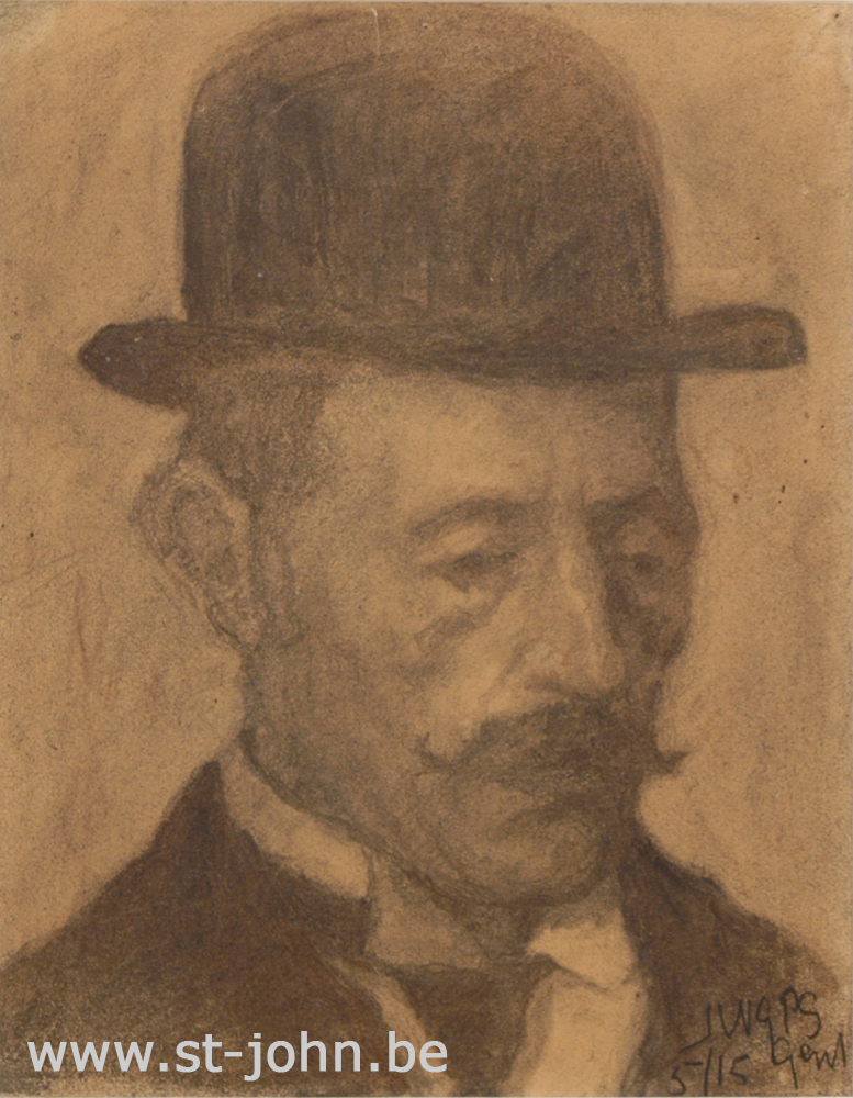 Jan Stultjes — <p> The man with the bowler hat, pencil on paper, signed with full monogram and dated bottom right &quot;JWGPS 5/15 Gent&quot;, made in May 1915, 30 x 23,5 cm.</p>