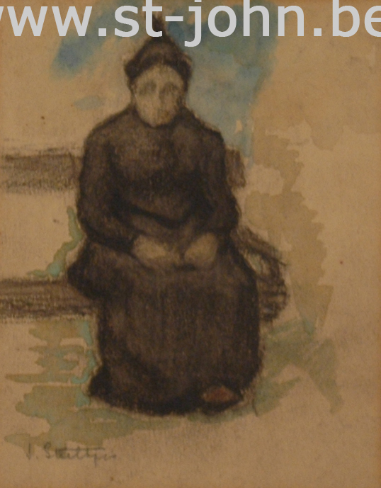 Jan Stultjes — <p> An old lady on a bench, charcoal and watercolour on paper, signed bottom left &quot;J. Stultjes&quot;, 12,5 x 10 cm (day measures).</p>