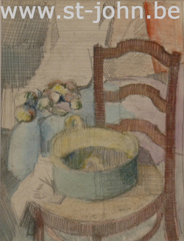 Jan Stultjes — <p> Stillife with fruit and chair, pencil and water colour on paper, 14,5 x 11 cm (day measures).</p>
