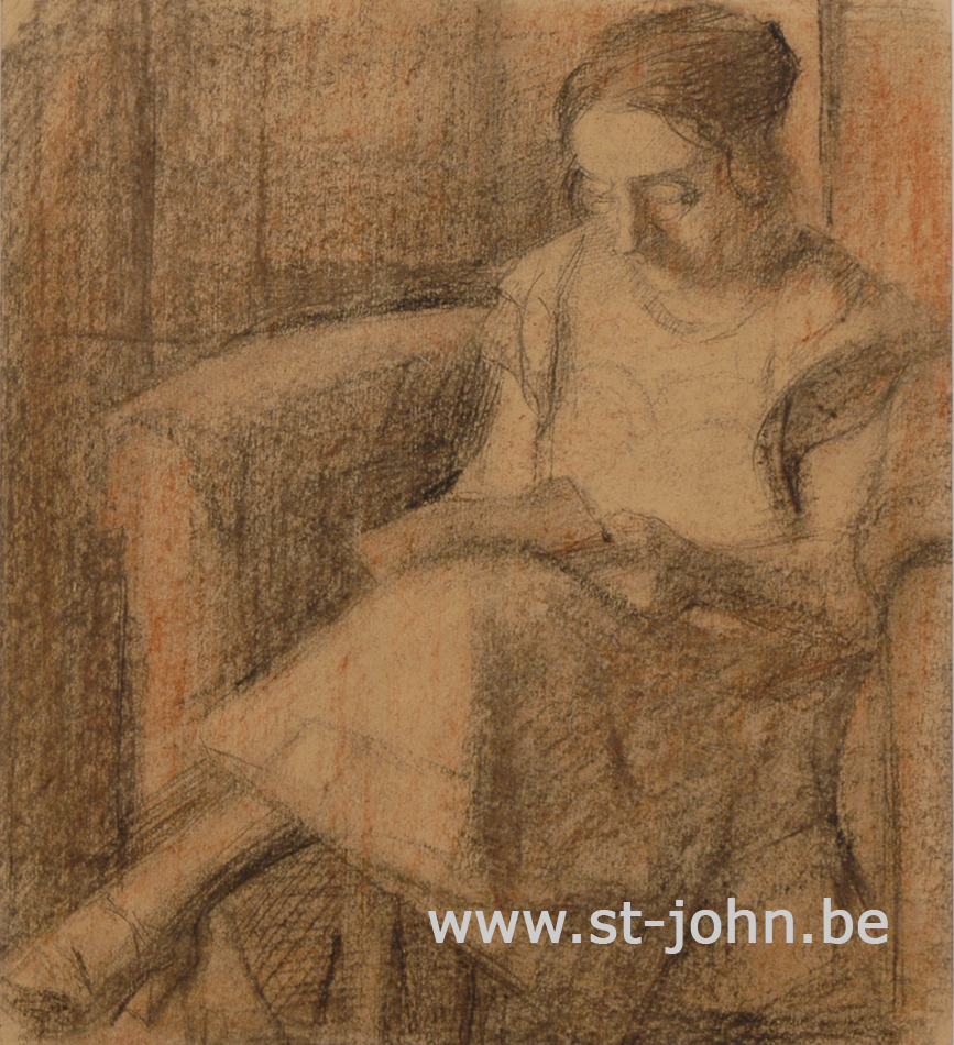 Jan Stultjes — <p> Woman reading in a club fauteuil, charcoal drawing with red/brown hue, on paper, 26,5 x 24 cm (day measures). The woman could be the wife of the artist.</p>