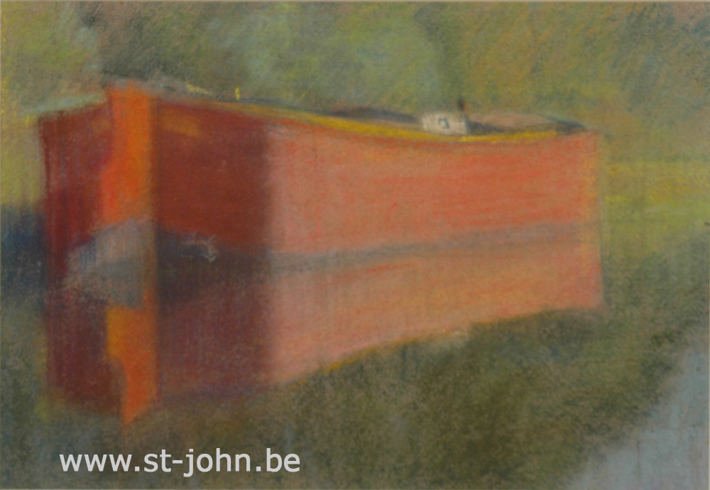 Jan Stultjes — <p> A barge on the river Leie, pastel on paper, 21,5 x 31 cm (day measures). This work is a preparative study for an oil painting.</p>