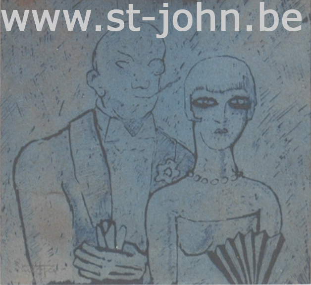 Jan Stultjes — <p> A &quot;gar&#231;onne&quot; and her suitor, a slightly hand coloured print in blue, signed in pencil &quot;J. Stultjes&quot; bottom left, 10 x 11 cm.</p>