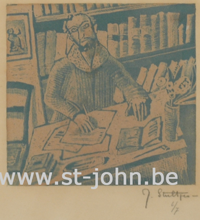 Jan Stultjes — <p> The writer, a slightly hand coloured print in blue, signed and numbered in pencil bottom right &quot;J. Stultjes 6/7&quot;, 10,7 x 11 cm.&nbsp;</p>