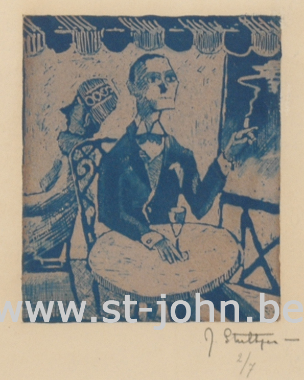 Jan Stultjes — <p> Dandy at the caf&#233; terras, print in blue, signed and numbered bottom right &quot;J Stultjes 2/7&quot;, 10,5 x 9 cm.</p>