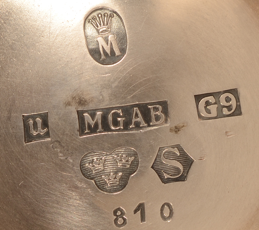 MGAB silver vase 1957 — Marks on the bottom of the piece