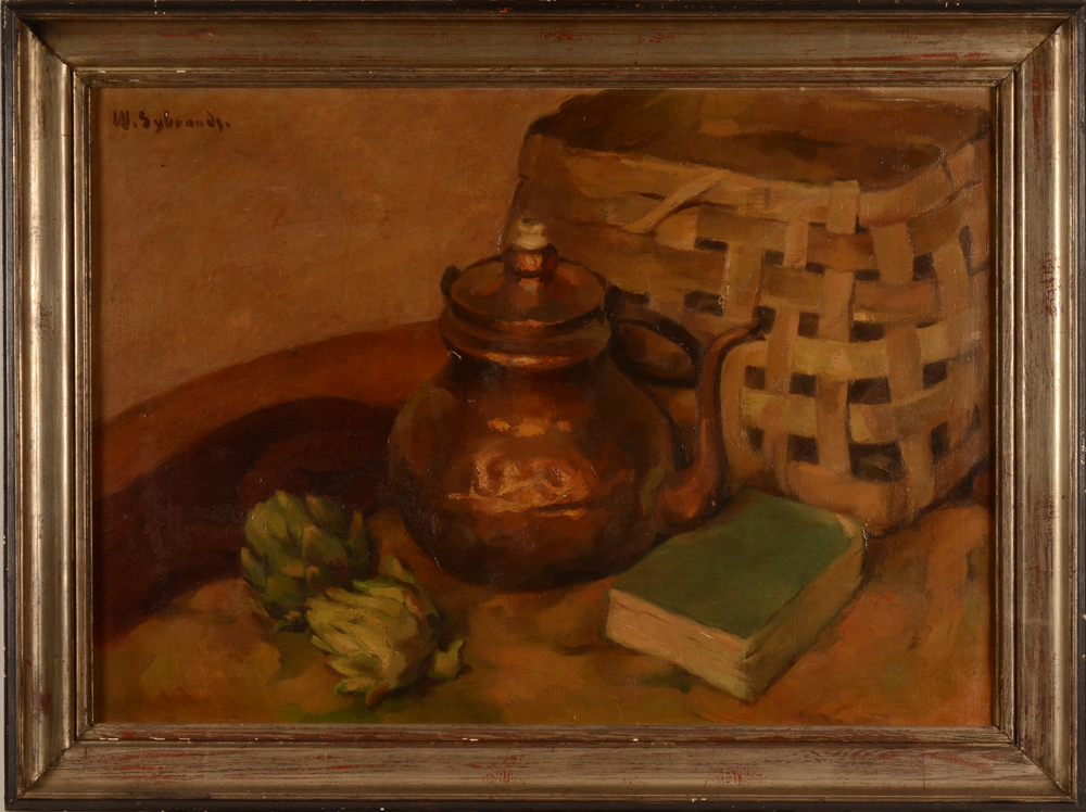Wilfried Sybrands still life with artichokes — With the original frame
