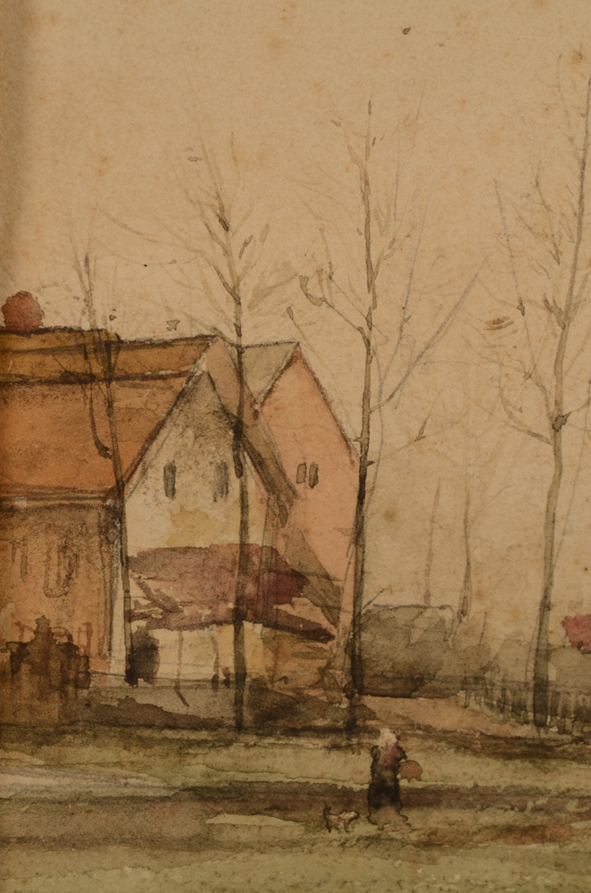 E. Temple — Detail of the houses and the woman with dog