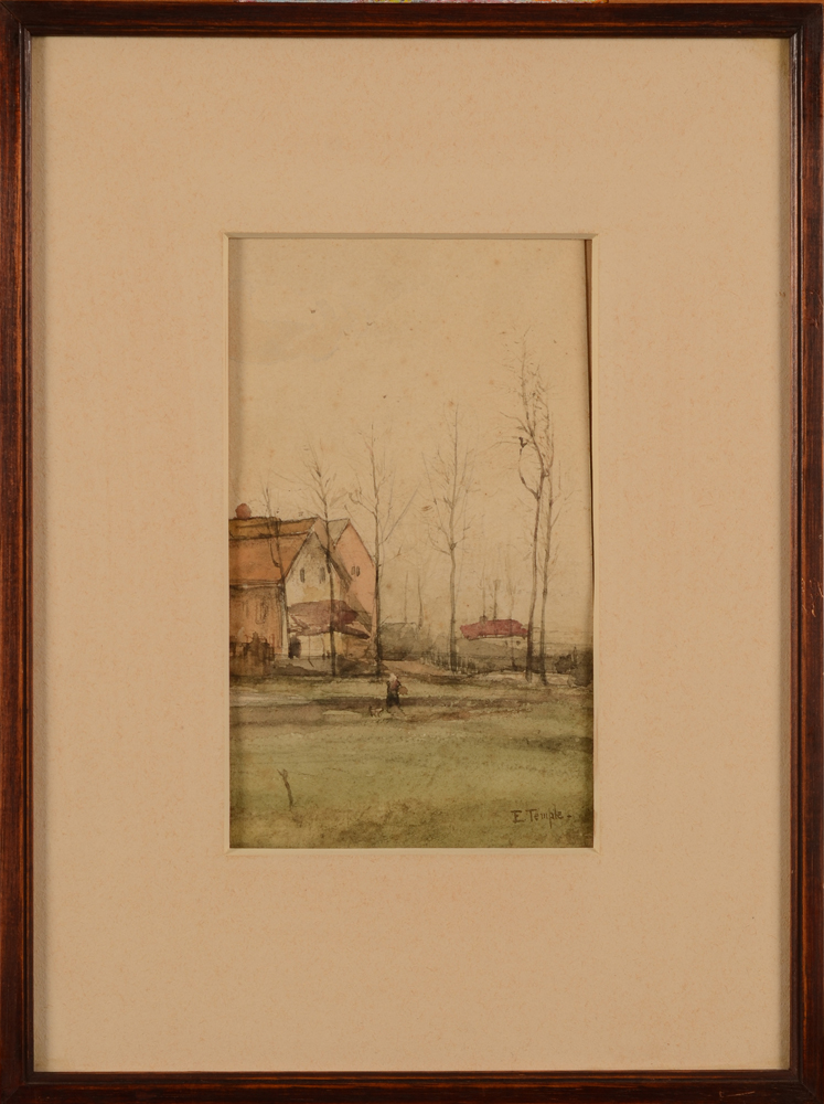 E. Temple — the watercolour in its frame