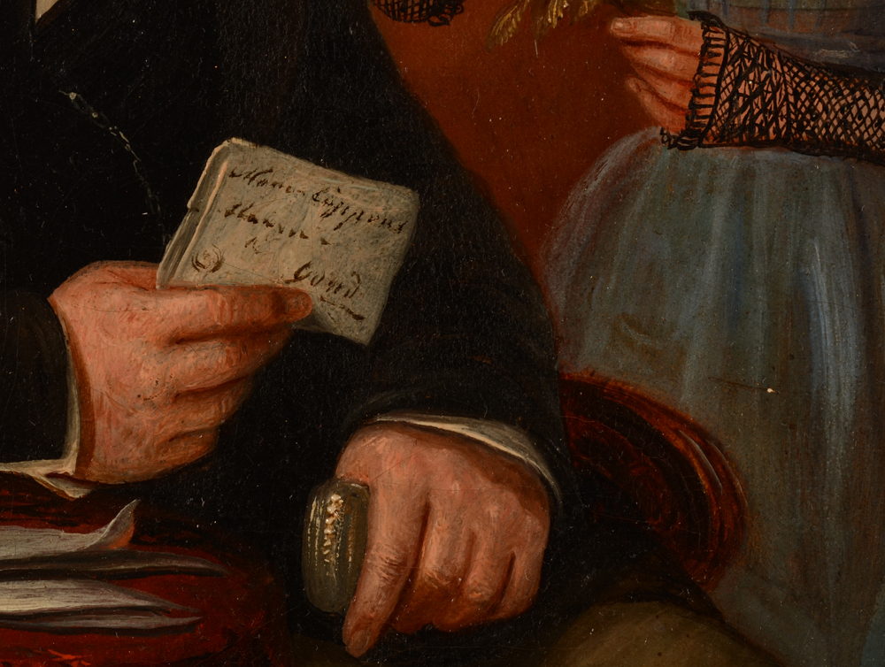 Jean Baptiste Tetar Van Elven — Detail of the hands of the father, with letter and silver nuff box