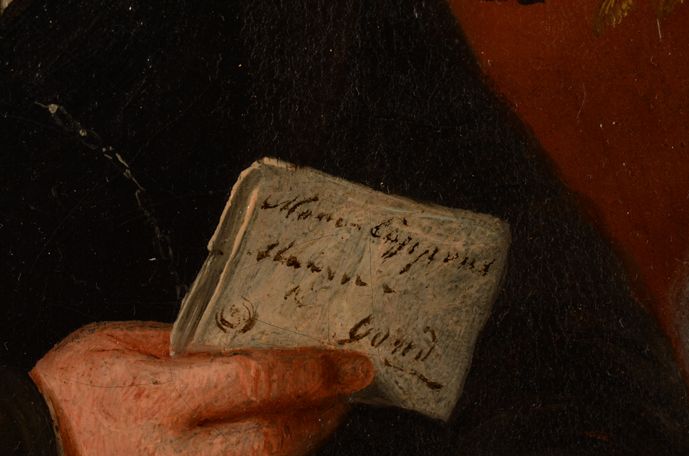 Jean Baptiste Tetar Van Elven — Detail of the letter held by the father showing a name and an address in the city of Gent