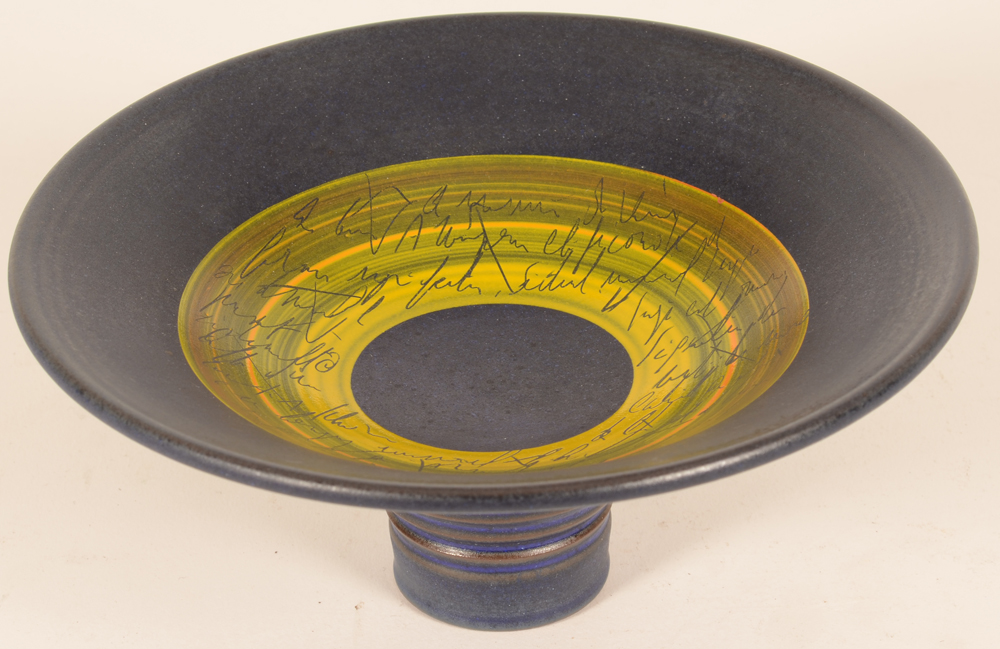 Bernard Thiran ceramic footed dish — Bernard Thiran footed dish (from above)