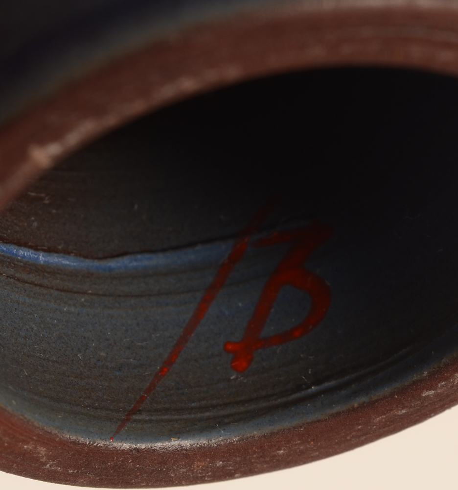 Bernard Thiran — Painted signature of the artist on the inside of the base