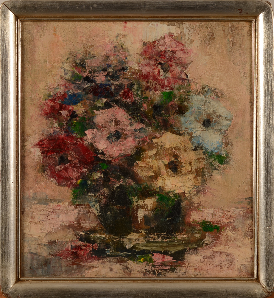 Pair of fauvist flower still lifes — the other flower painting, oil on canvas laid down on board